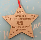 PERSONALISED BABY'S FIRST CHRISTMAS DECORATION LOCKDOWN BAUBLE TREE WOOD SILVER
