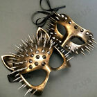 Bronze Cat Woman Masquerade Couple Steampunk Spiky Mask Halloween Birthday Party