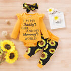 Newborn Baby Girl Clothes Letter Romper Jumpsuit Tops+Pants+ Headband Outfit Set