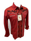 Men RODEO WESTERN COUNTRY RED BLACK STITCH TRIBAL SNAP UP Shirt Cowboy 05530