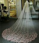 Light Pink Cathedral Wedding Veil with Lace Floral Appliques Custom Bridal Veil