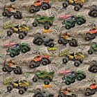 Monster Jam Cotton Fabric-Monster Truck Quilting Fabric-By The Yard and Panel