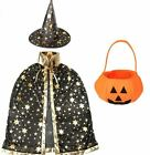 Halloween Costume Wizard Cape Witch Cloak with Hat with Stay Pattern and Pumpkin