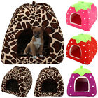 Pets Cat Dogs Soft Strawberry Fleece Mat Washable Igloo Bed Pyramid Kennel Home