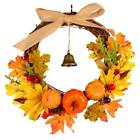 Autumn Maple Leaf Pumpkin Wreath Thanksgiving Halloween Door Garland Decoration
