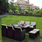 11 Piece Rattan Garden Furniture Set Cube Dining Chairs Table Stool Set New
