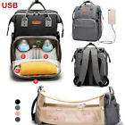 Mummy Diaper Nappy Bags Baby Bed Crib Changing Backpack Multifunction Travel Bag