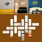 18pcs Mirror Tile Wall Sticker Square Self Adhesive Room Decor Stick On Art Home