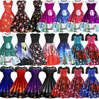 Womens Retro Rockabilly Dress Christmas Xmas Evening Party A-line Dresses Skater