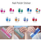 Full Wraps Glitter Gradient Adhesive Nail Art Decals Stickers Manicure Decor Ea