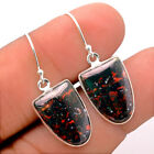 Natural Blood Stone - India 925 Sterling Silver Earrings Jewelry 6629