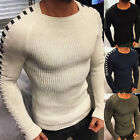 Simple Men Winter Autumn Solid Color Long Sleeve Warm Knitted Pullover Sweater