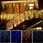 13FT 96 LED Curtain Icicle Lights Wedding Party Fairy Christmas Indoor Outdoor