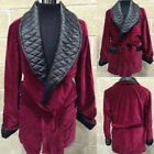 Men's Velvet Quilted Smoking Jacket With Belted Shawl Lapel Formal Wear Coat