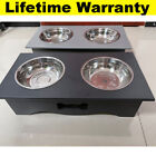 Double Twin Stainless Bowl Stand Raised Feeding Wet Dry Food Water Dog Cat Puppy