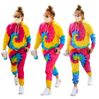 Fashion New Women Tie Dye Print Long Sleeves Hoodie Casual Jumpsuit Outfits 2pcs