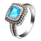 Coco Engagement Statement Ring Women Chocolate Blue Cz Ginger Lyne