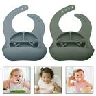 4 Pcs Solid Colour Baby Silicone Plate Bowl Toddler Feeding Bowl with Bib Fork