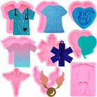 Nurse Shirt Love Heart Stethoscope Keychain Silicone Pendant Epoxy Resin Moulds