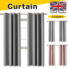 Heavy Thick Curtain Thermal Blackout Curtains Ready Made Eyelet Ring Top Pair