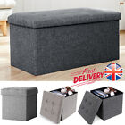 'Grey Large Linen Folding Storage Ottoman Pouffe Seat Foot Stool Storage Boxes Uk