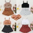 Baby Girls Outfits Clothes Bow Tie Vest Crop Tops Polka Dot Shorts Toddler Kids