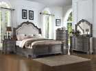 NEW 100% Solid Wood Queen King Upholstered Master Bed Antique Gray Bed/D/M/N/C