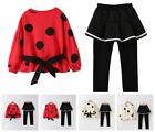 Kids Girls Casual Outfit Long Sleeves Sweatshirts Pantskirt Dots Pattern Clothes