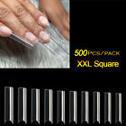 XXL Coffin Nail Tips Half Cover Extra Long C Curve Acrylic Extension False Nails