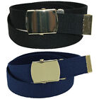 New CTM Kid's Cotton Belt with Brass Military Buckle Pack of 2 Colors