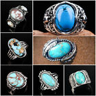 Women Men Turquoise 925 Silver Filled Wholesale Handmade Ring Vintage Jewy #5-13
