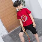 Boy Chinese Traditional Hanfu Suit Short Sleeve Embroidered 2-piece Suits Summer