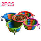 Cat Dog Portable Hiking Collapsible Pet Bowl Food Water Foldable Silicone