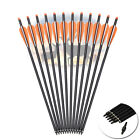 """16-20 Archery Crossbow Carbon Arrows Bolts Target Tips Hunting Shooting 4""""Vanes"""