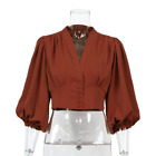 Lady Crop Tops Blouse V-neck Puff Sleeve Shirt Solid Color Elegant Retro Fashion