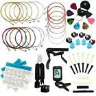 LOMEVE Guitar Accessories Kit Include Acoustic Guitar Strings, Tuner, Capo, 3-in