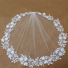 Short Wedding Veil with Flowers 1 Layer 1 Meter with Comb Accessories Veils