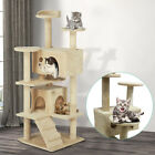 Large 130cm Cat Tree Tower with 4-Cat Scratching Post/2-Condo/3-Perch/Kitten Toy