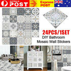 24pc Moroccan Style Self-adhesive Tile Wall Stickers Bathroom Kitchen Home Decor
