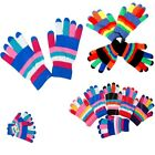 6-12 pairs Women's Girl Striped Knit Magic Warm Winter Gloves Knitted Stretchy