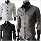 (SPL) THELEES Unique  Mens premium strap pocket slim fit dress shirts