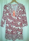 New Classic Boutique Red Cream Smock V Top Size 8 12 TShirt Tunic Long Sleeve