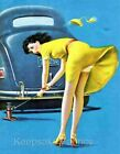 Pin Up Lady Fixing Flat Tire Quilt Block Multi Sizes
