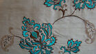 Embroided pure silk curtain fabric - ALSACE - FLORAL