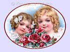Victorian Girls & Red Roses Quilt Block Multi Sizes