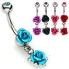 New 1 x Double Rose Dangle Belly Bar With Gem Ball B43
