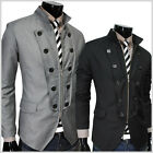 (SDF) TheLees Mens casual vintage button Decoration zipper blazer jacket