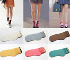Fashion Roll Top Ankle High Cotton Color Wrinkle Socks