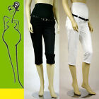 MATERNITY TROUSERS 3/4 cropped pants LINEN white black size 6 8 10 12 14 16