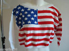 Women's US flag top sweater V-neck 100% cotton